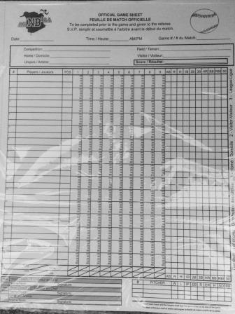 Baseball Scoresheet pic